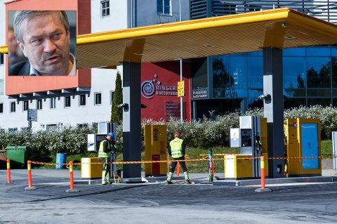 Ordfører Kjell B. Hansen finner ikke politiske vedtak mot bensinstasjoner i sentrum.