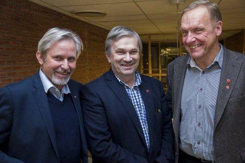 Ordførerne i Hole, Ringerike og Jevnaker: Per R. Berger, Kjell B. Hansen og Lars Magnussen.