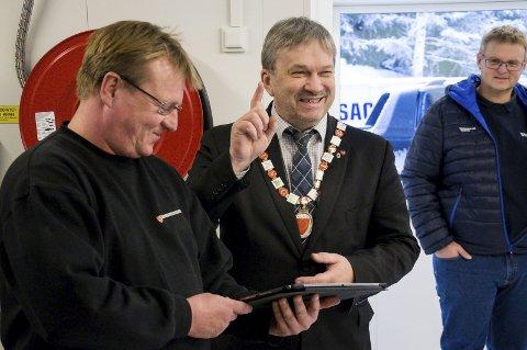 Ordfører i Ringerike, Kjell B. Hansen, under åpningen av det nye renseanlegget.