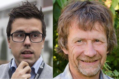 SV-leder Morten Dåsnes (til høyre) reagerer på uttalelsene til Christopher A. Wand (H).