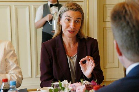 Frederica Mogherini møtte blandt andre utenriksminister Børge Brende mandag.