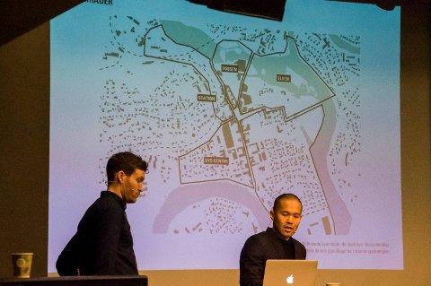 Arkitektene har jobbet med planer for Hønefoss, og nå har en vurderingskomité valgt ut hva man skal gå videre med. Her er det Jaja/Dyrvik ved Jan Y. Tanaka og Espen Krogstad som viser sine planer ved et møte tidligere i år.