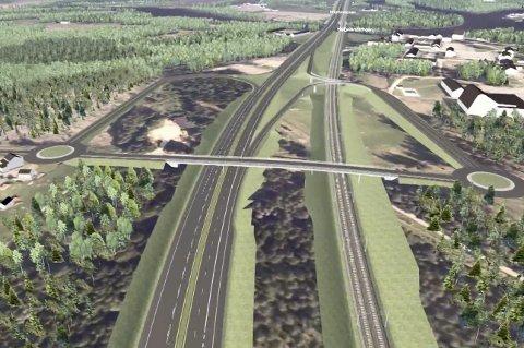 Slik kan Ringeriksbanen og E16 bli ved Helgelandsmoen.