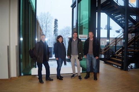 Befaring: T.v. Ansgar Ole Olsen, (kunstnerisk konsulent), Tone Myhren (brukerrepresentant), Kjetil Aschim og Stian Berge (byggherre).