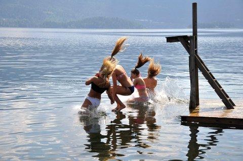 Høyenhall-stranda i Hole er nok full av badegjester i helgen.