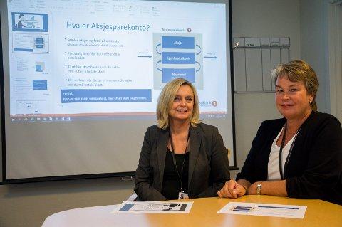 Liv Grinna og Kristin Ruud i Sparebank 1 Ringerike Hadeland ser fram til å tilby aksjesparekonto til sparekundene.