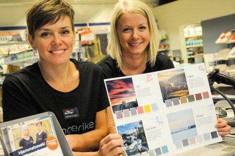 Lanserer nytt fargekart: Eierne av Maleriet fargehandel i Hønefoss, Inger Frøyshov og Trude Iren Bergheim har laget sine egne unike farger, Ringerike i farger.