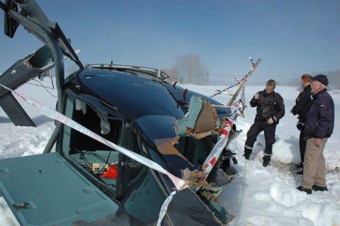 Helikopter veltet etter å ha landet på et jorde ved Lisletta grunnet tåke i hendelsen som skjedde i 2009.