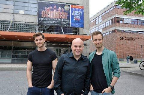 Trio: Aleksander Langset, Jonas Rønning og Mikkel Gythfeldt spiller alle i Teigen-musikalen Optimist.