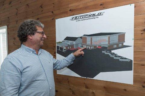 STARTER NESTE VÅR: Slik ser Trond Bråten for seg den nye bilhallene og verkstedet på Veme. Han håper å kunne starte byggingen våren 2020.
