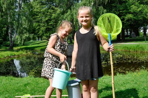 SALAMANDERVENNER: (Fra venstre) Søstrene Emly (7) og Anna Hesjevik Lilleeng (8) er i Søndre park nesten hver dag og fanger salamandere. For to år siden var det umulig å fange noen, for da gjemte de seg for gjedda.