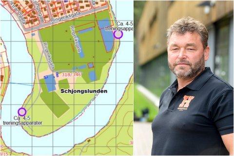 UTETRENING: Ringerike kommune vil sette opp treningsapparater på to steder i Schjongslunden. Hønefoss Arena-sjefen er positiv.