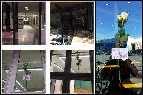 SKAPTE REDSEL: Flere elever ved skoler i Lørenskog ble redde av den mystiske beskjeden og den hvite rosen. FOTO: Skjermdump Instagram og RB-tipser.