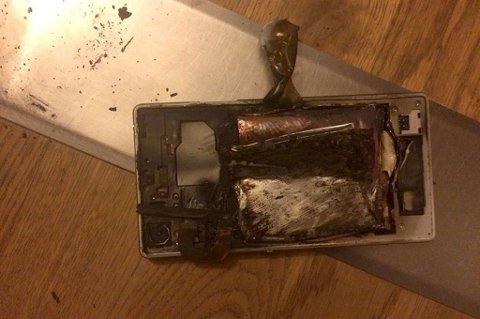 Politiet vet ikke hvorfor mobilen eksploderte. FOTO: POLITIET/AN/ANB