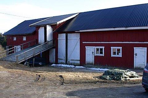 HUND OG HASJ: Det var i dette fjøset på gården i Enebakk at politiet i februar 2013 fant en cannabisplantasje og en «hundefabrikken». Foto: Knut A. Nadheim
