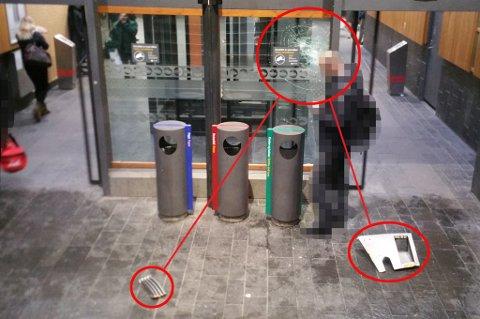 KNUST: Delen fra Flytoget fløy ned fra perrongen og smalt inn i døren nede i stasjonsbygningen på Lillestrøm.