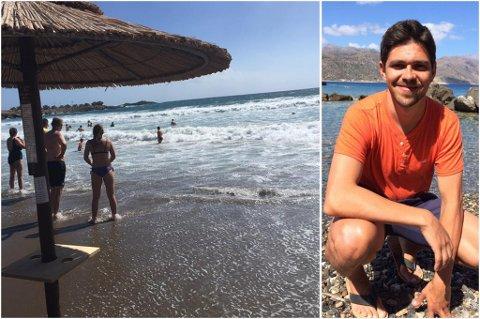 REDNINGSAKSJON: Henning Søfting hoppet i vannet og reddet både livredderen og en mann som holdt på å drukne på Kreta lørdag.