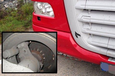 BREMSELØS. Tre av seks hjul på den tyrkiske tilhengeren var bremseløse. Foto: Statens vegvesen