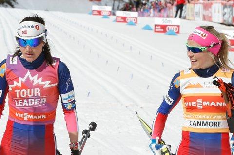 Canmore, CANADA 20160312. Ski Tour Canada 2016. 8 og siste etappe. 10 km klassisk jaktstart kvinner.Therese Johaug vant  Heidi Weng t.v. Foto: Terje Pedersen / NTB scanpix