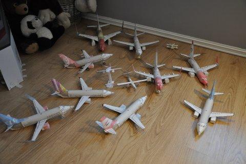 Her er nesten hele samlingen av Andis selvlagde modellfly.
