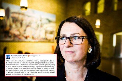 FORBANNET: Stortingsrepresentant Tone Wilhelmsen Trøen trodde nesten ikke det hun leste da hun åpnet eposten. – Du har kreft, var beskjeden.