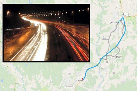 LANGT: Fra Berger, der bilen først ble oppdaget, og til Kløfta er det rett over 10 kilometer. Hvor langt sjåføren har kjørt før det vites foreløpig ikke. FOTO: ROAR GRØNSTAD/GOOGLE MAPS