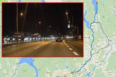 DRAMATISK: Dramaet som utspant seg på E6 mellom Eidsvoll og Oslo natt til 26. september 2015, kunne ha ført til tap av menneskeliv, konstaterer Nedre Romerike tingrett. Bildet er fra en tidligere anledning. ARKIVFOTO/GOOGLE MAPS