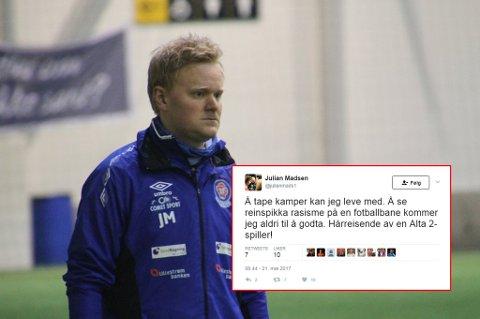 FORBANNET: Lørenskog-trener Julian Madsen var rasende etter kampslutt mot Alta 2. Han mener at en av hans spillere er blitt utsatt for rasisme under kampen.