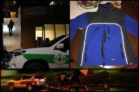 SØKER: Frivillige (oppe til venstre og nederst) har startet søk rundt Meny Rasta i Lørenskog. Ifølge den savnedes familie hadde mannen på seg denne jakka før han ble savnet. FOTO: VIDAR SANDNES/ POLITIET