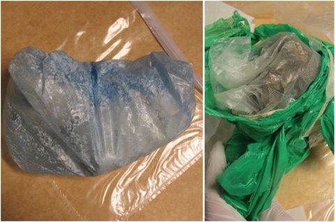BESLAGET: Nærmere 500 gram amfetamin og 100 gram marihuana ble funnet på eiendommen til mannen i 30-årene fra Ullensaker. Før de la bagen tilbake ble stoffet byttet ut med marsipan og løv. FOTO: POLITIET