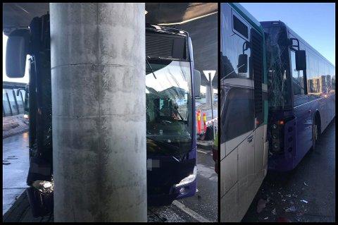 TRE BUSSER - TO KRASJER: Den ene bussen skled rett inn i en betongsøyle mens den tredje skled inn i buss nummer to i rekka. FOTO: RB-TIPSER
