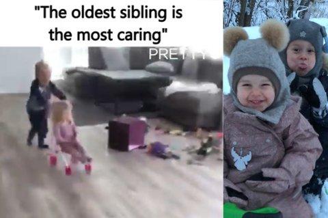 VIRALE SØSKEN: Se den herlige videoen av Oliver (snart 5) og Sienna (snart 3) litt lenger ned i denne saken. FOTO: PRIVAT