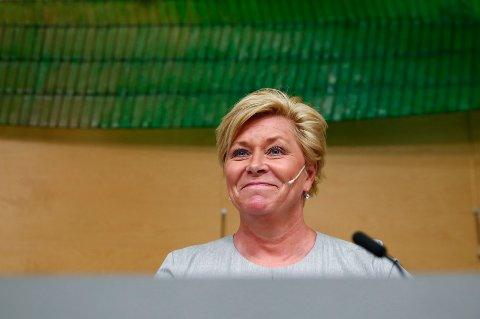 Oslo  20180515. Finansminister Siv Jensen (Frp) holdt pressekonferanse om revidert nasjonalbudsjett. Foto: Tore Meek / NTB scanpix