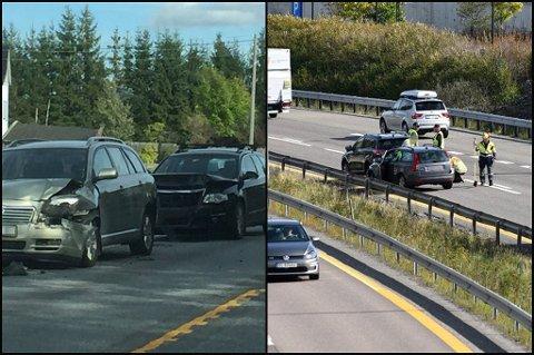 TO AV TRE: Bildet til venstre er fra kjedekollisjonen på E16. Bildet til venstre er fra kjedekollisjonen på riksvei 159 i Lørenskog. FOTO: KJELL AASUM/VIDAR SANDNES