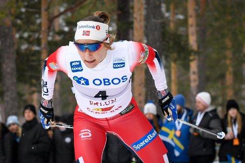 FALUN, SVERIGE 20190316. Maiken Caspersen Falla  under kvalifiseríng sprint verdenscup  i Falun lørdag.  Foto: Ulf Palm/TT / NTB scanpix