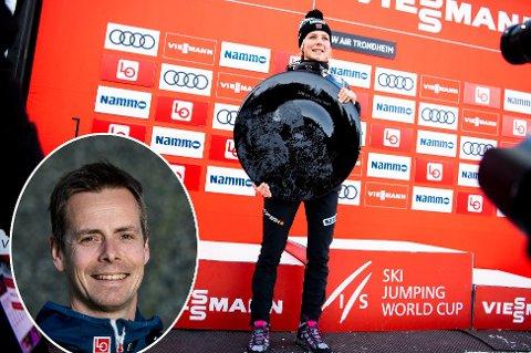 NY JOBB: Henning Stensrud (innfelt) skal trene verdens beste skihopper de siste sesongene, Maren Lundby, de tre neste årene. FOTO: NTB SCANPIX