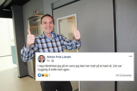 HILSER: Krf-politiker Simon Friis Larsen, forteller på Facebook at han håndhilser på kamerater, så lenge man er nøye med hygienen. Bildet er tatt etter at det var klart at Donald Trump ble president i USA.