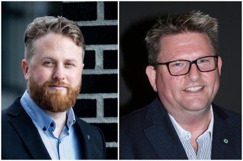 GLADE: Ullensaker-ordfører Eivind Jørgensen Schumacher og Enebakk-ordfører Hans Kristian Solberg.