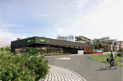NY BUTIKK: Norgesgruppen er største eier av Marcus Thranes vei 2, og planlegger en Kiwi-butikk av normal størrelse på tomta. Ill.: Blaar og Arcasa