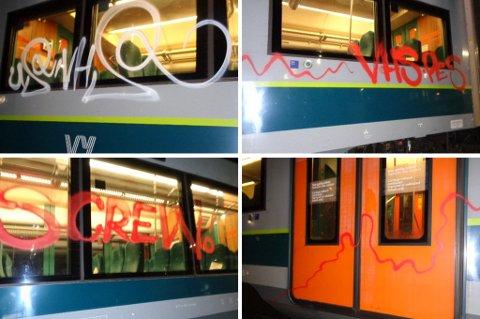 ANMELDT: Slik så flere av togvognene ut etter at vandaler hadde tagget på dem inne på et avsperret område.