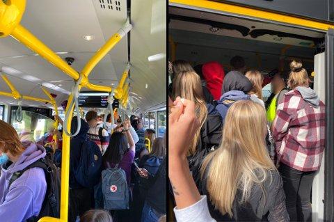 STAPPFULLT: Slik så det ut da elever fra Skjetten skulle ta bussen til skolen i august i fjor. Nå ønsker Viken fylkeskommune å unngå slike situasjoner.