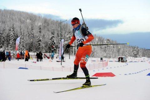 PÅ PALLEN: Martin Lindland både gikk fort og skjøt glimrende da det ble en tredjeplass i norgescuprennet på Voss.