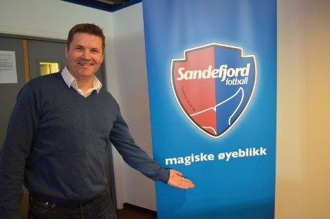 Daglig leder Per Ketil Berg i Sandefjord Fotball er i godt humør etter at opprykket ble sikret.