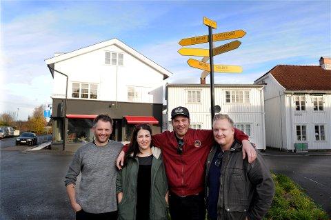 Starter burgerbar: Fredag 10 november åpner denne gjengen spisested og bar. Fra venstre: Ken Are Rudquist, Imen Vinje, Jonas Horntvedt og Trond Myhre Eriksen.