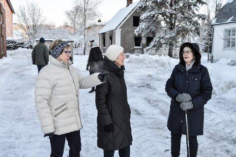 VENTET OG VENTET: De var klare til å møte politikerne, men de dukket ikke opp..., f.v. Rigmor Nygaard, Marit Gjerdrum og Karin Egeberg. I bakgrunnen noen av de andre naboene.