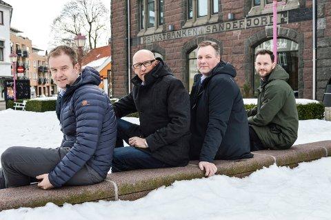 VOKSER: Hjertnes Eiendom vokser både i antall ansatte og omsetning. Etter påske består ledelsen av f.v.  økonomisjef Hans Petter Amundsen, styreleder Øystein Bøe, daglig leder Pål Badski og eiendomssjef Thomas Hagen.