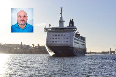 BEKYMRET: Ronny Øksnes i Norsk Sjømannsforbund sier Sandefjord har ca. 600 Color Line-ansatte på sjø og land.