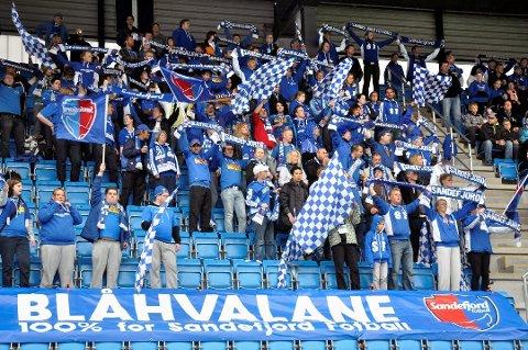 FULL STØTTE: Blåhvalene er trofaste supportere for Sandefjord Fotball. Lørdag kan de og hele byen få et opprykk å feire.