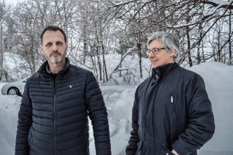 NY MOBILISERING: Klagen fra A/S Thor Dahl på vedtaket i planutvalget før jul har ført til at Rødsåsenkomiteen kaster seg rundt, for å stanse boligplanene, forteller Hroar Jacobsen (t.v.) og Arnt Christian Bryde.