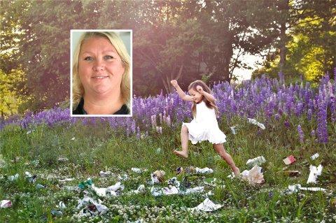 FOTOPROSJEKT: Linda Gabrielli (innfelt) bruker barn og forsøpling av naturen i hennes motiver. Jenta på bildet er Cecilia Larsen.